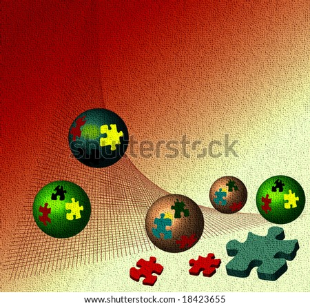 Abstract background with colorful puzzle balls rolling down from a red net - stock photo
