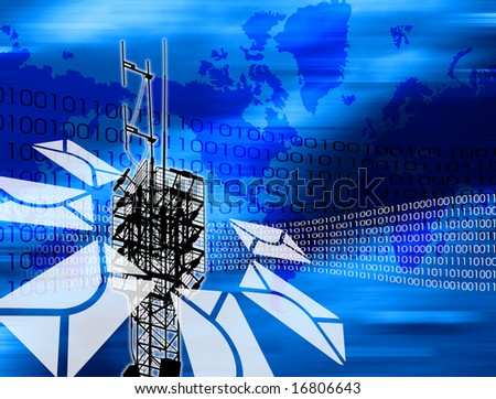 Abstract background with communication devices, antenna and envelope