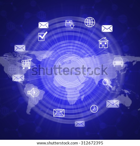 Abstract background with computer icons and world map - stock photo