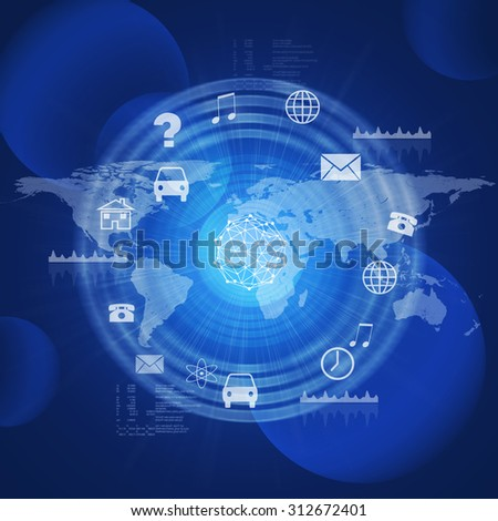Abstract background with computer icons, molecule and world map - stock photo