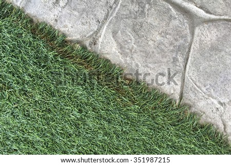 Abstract background with concrete pathway and artificial grass