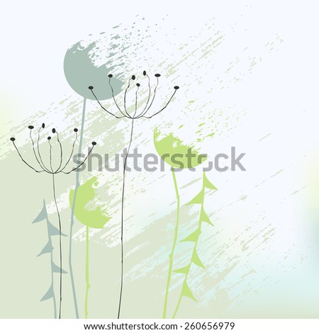 Abstract background with dandelions - illustration - stock photo
