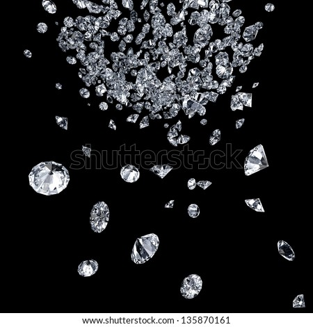 abstract background with diamonds falling down - stock photo