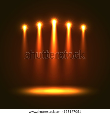 Abstract Background With Five Bright Projectors. Orange colored lights - stock photo