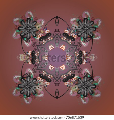 Abstract background with Floral Elements. Winter pattern. Design on colored background.