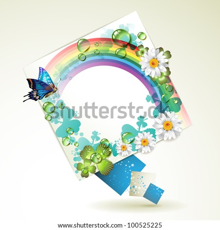 Abstract background with flowers, rainbow and drops of water