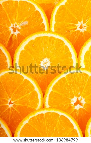 Abstract background with fresh juicy orange slices - stock photo