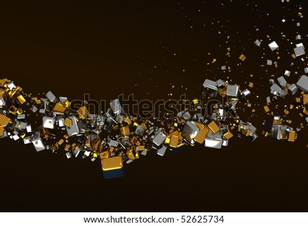 Abstract Background with Gold and Silver Cubes