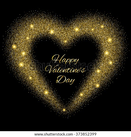 Abstract background with gold glitter heart. Design template for invitation, congratulation. Happy Valentines Day Card with Gold Glittering Star Dust Heart, Golden Sparkles  Raster version. - stock photo