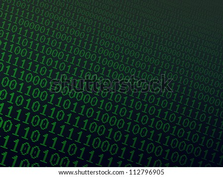 Abstract background with green binary combinations