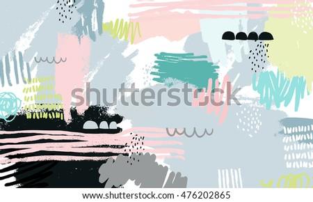 Abstract background hand drawn textures memphis stockillustratie 455714974 shutterstock - Ongewoon behang ...