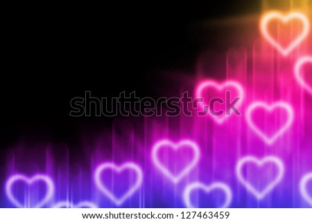 abstract background with magic light heart blank for text - stock photo