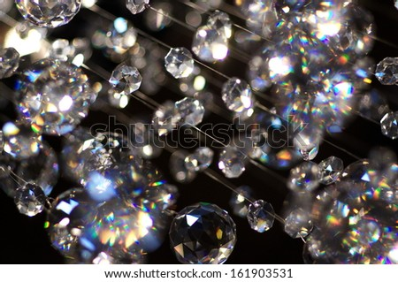 abstract background with many hanging glass balls - stock photo