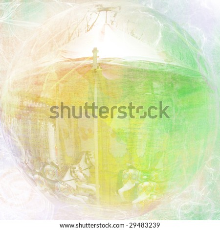 abstract background with merry-go-round - stock photo