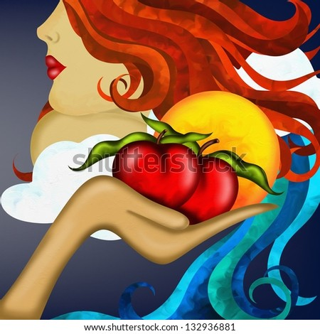 abstract background with mother nature and red apples - stock photo
