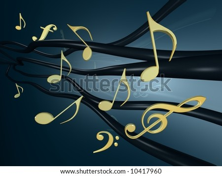 notes treble clef 3d stock illustration 9693403 shutterstock Microphone Clip Art Pretty Music Notes