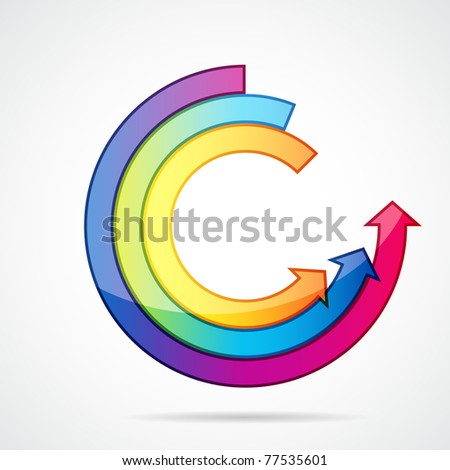 Abstract background with open ring of arrows. Easily editable vector illustration. - stock photo