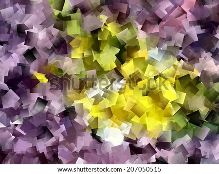 Abstract background with overlapping colorful squares in violet, yellow and green - stock photo