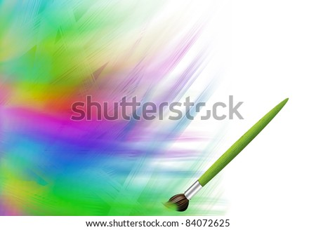 Abstract background with paints and brush - stock photo