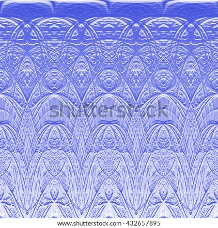 Abstract background with patterns like flower or a symbol embossed on the surface metallic blue.