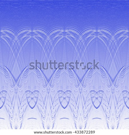 Abstract background with patterns like flower or a symbol embossed on the surface metallic blue