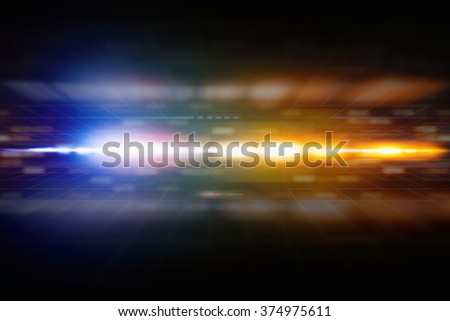 Abstract background with perspective, bright blue and orange light from glowing horizon - stock photo