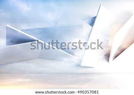 Abstract background with polygonal structure over colorful cloudy sky. 3d illustration, computer graphic
