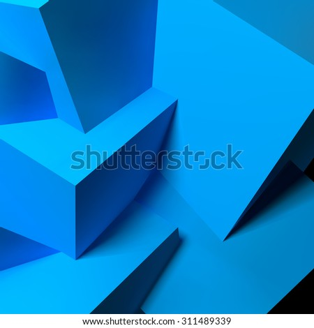 Abstract background with realistic 3D overlapping blue cubes - stock photo
