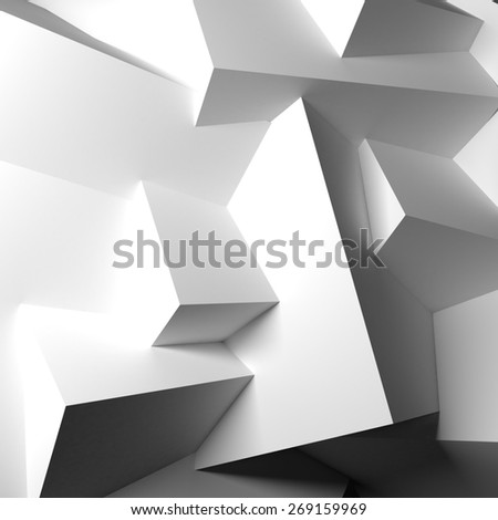 Abstract background with realistic overlapping white cubes. - stock photo