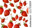 Abstract background with red fresh strawberryes. Isolated on white. Seamless pattern for your design. Close-up. watercolor - stock photo
