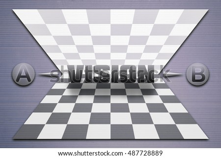 Abstract background with reflected chessboard and the word Vision