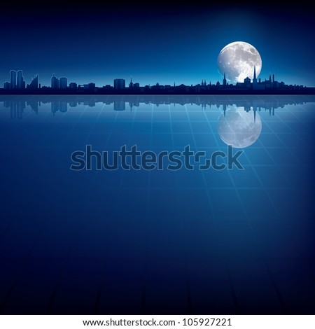 abstract background with silhouette of city and big moon - stock photo