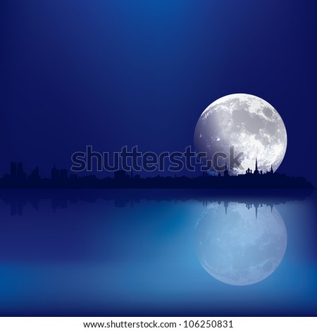 abstract background with silhouette of Tallinn and moon - stock photo
