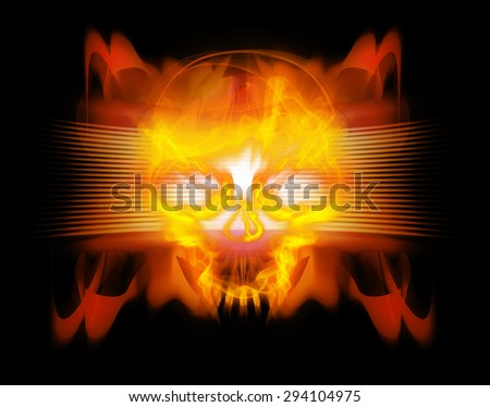 abstract background with skull digital illustration - stock photo