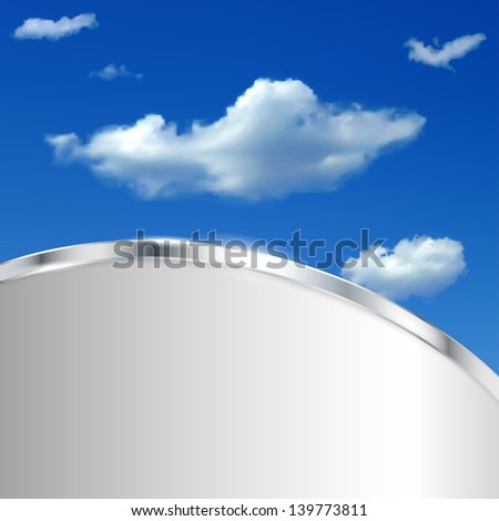 Abstract background with sky, clouds and metallic strip. Raster version.