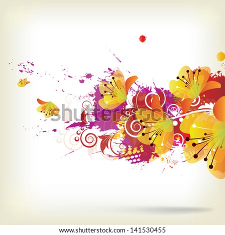 Abstract background with splash and floral elements - stock photo