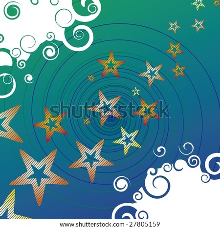 Abstract background with star track and spirals