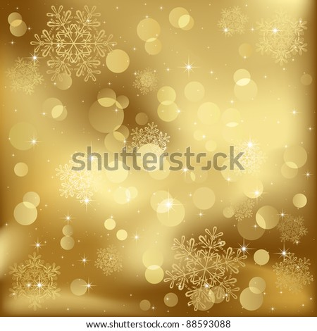 Abstract background, with stars, snowflakes and blurry lights, illustration - stock photo