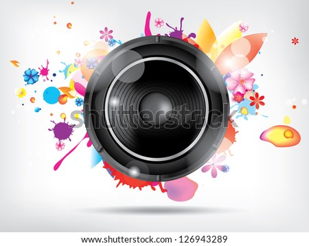 Abstract background with subwoofer and floral elements
