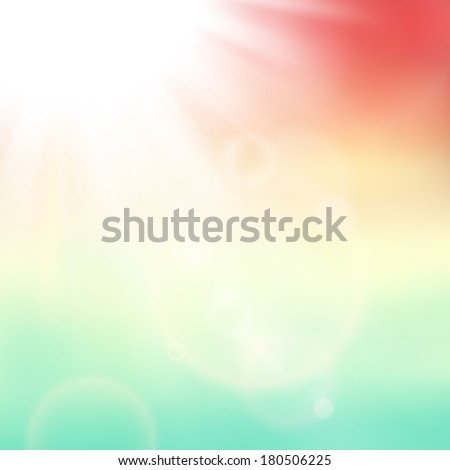 Abstract background with summer sun and lens flares - stock photo