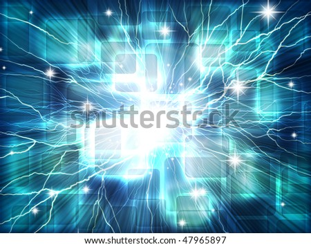 Abstract background with transparent squares and lightning.
