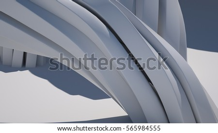 Abstract background with  twisted shapes, 3 d render