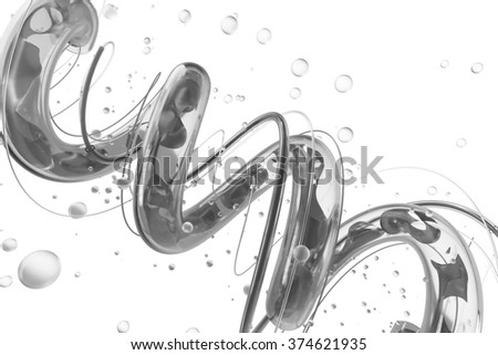 abstract background with twisted spiral glass shape, liquid wave inside, isolated on white background
