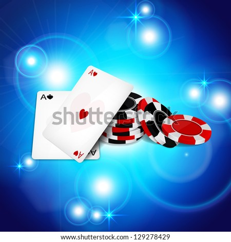 Abstract background with two aces and poker chips. Raster version of the loaded vector - stock photo