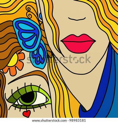 abstract background with two women