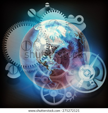 Abstract background with watchwork and globe model. Elements of this image furnished by NASA