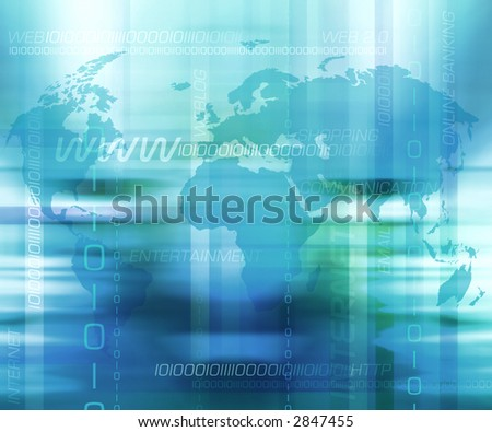 Abstract background with worldmap and internet terms.