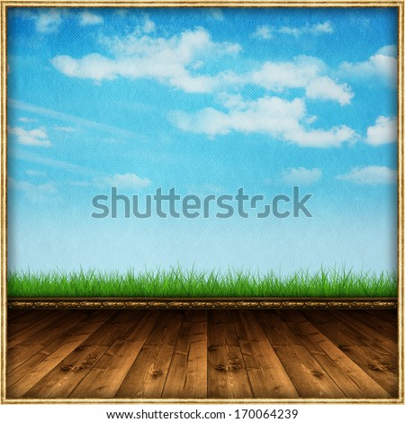 Abstract background - wooden floor and sky background  - stock photo