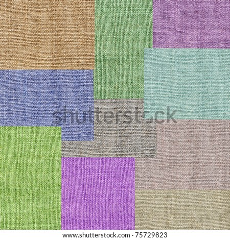 Abstract backgrounds, colour rectangle on a linen canvas - stock photo