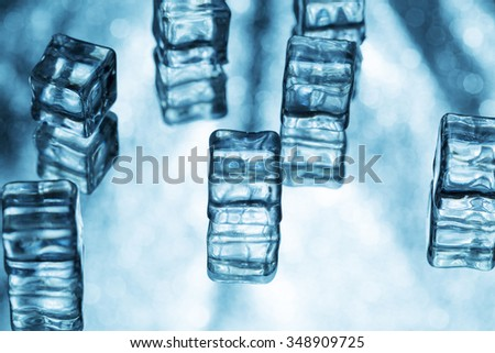 Abstract backgrounds with ice cubes over glass - stock photo